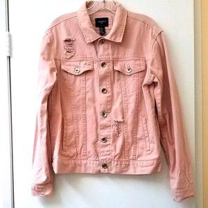 Forever 21 Distressed Oversized Denim Jacket